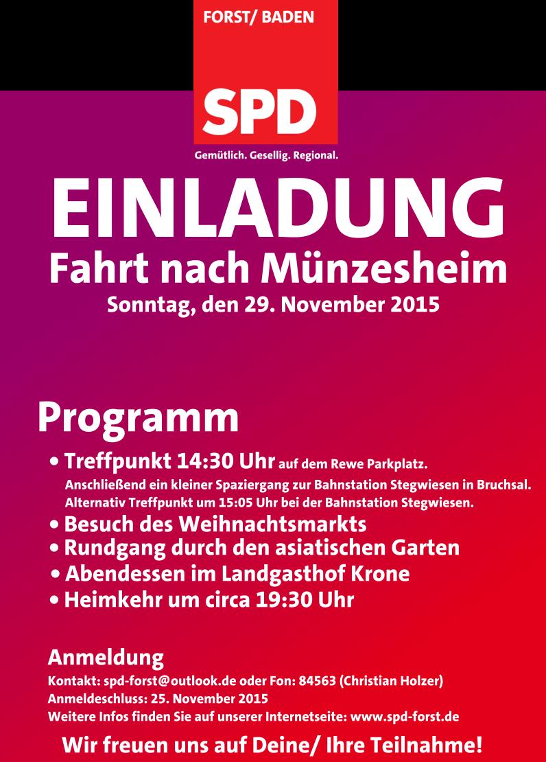 Einladung Zum Weihnachtsmarkt Nach Munzesheim Spd